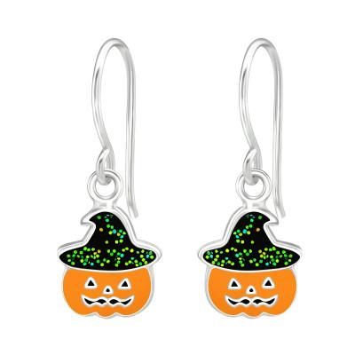 Children's Silver Pumpkin Earrings with Epoxy
