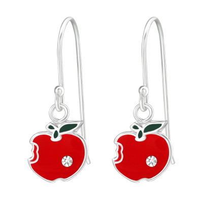Children's Silver Apple Earrings with Crystal