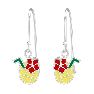 Children's Silver Pineapple Juice Earrings with Epoxy