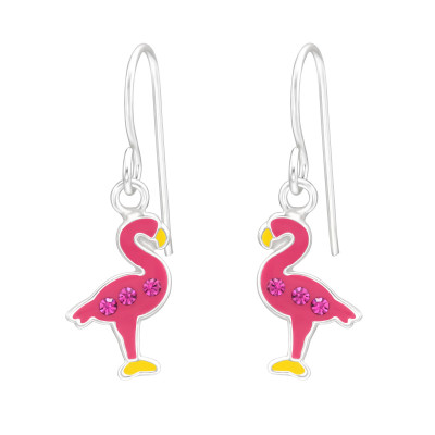 Children's Silver Flamingo Earrings with Crystal and Epoxy