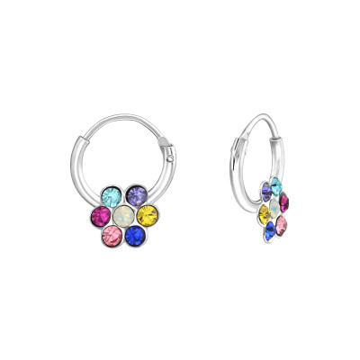 Children's Silver Flower Hoops with Crystal