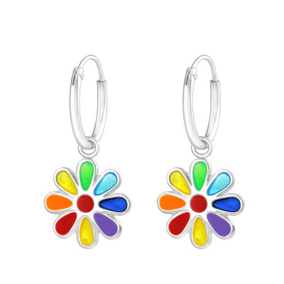 Children's Silver Ear Hoop with Hanging Flower and Epoxy