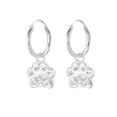 Children's Silver Ear Hoop with Hanging Paw Print and Crystal