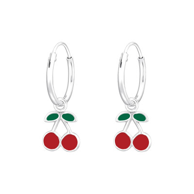 Children's Silver Ear Hoops with Hanging Cherry with Epoxy