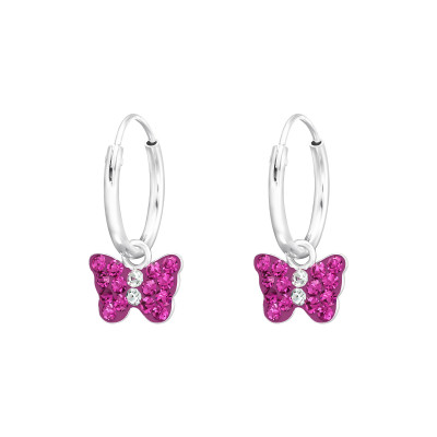 Children's Silver Ear Hoops with Hanging Butterfly and Crystal