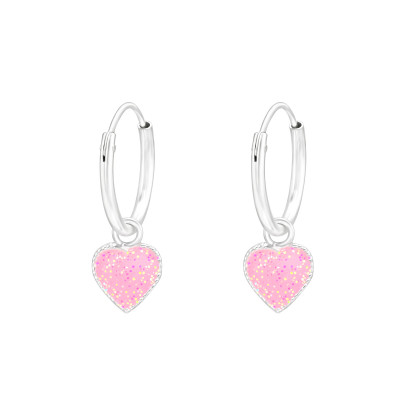 Children's Silver Ear Hoops with Hanging Heart and Epoxy