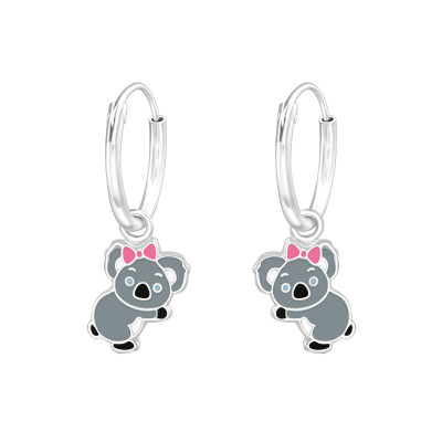 Children's Silver Ear Hoops with Hanging Koala and Epoxy