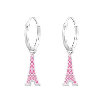 Children's Silver Ear Hoops with Hanging Eiffel Tower and Epoxy