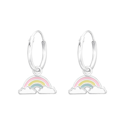 Children's Silver Ear Hoops with Hanging Rainbow and Epoxy