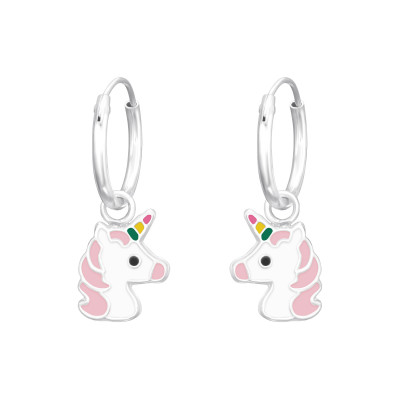 Children's Silver Ear Hoops with Hanging Unicorn and Epoxy