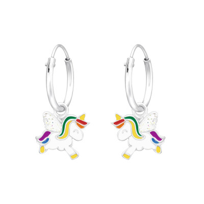 Children's Silver Ear Hoops with Hanging Unicorn with Epoxy