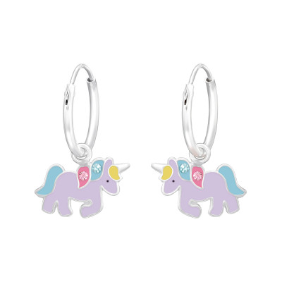 Children's Silver Hanging Unicorn Ear Hoops with Crystal and Epoxy