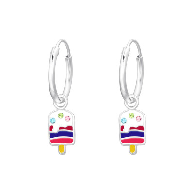 Children's Silver Ear Hoops with Hanging Epoxy Ice Cream and Crystal