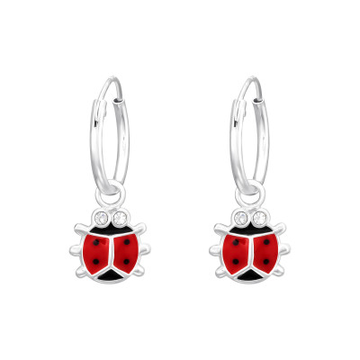 Children's Silver Hoops with Hanging Epoxy Ladybug and Crystal