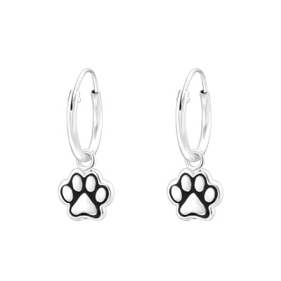 Children's Silver Ear Hoop with Hanging Paw Print and Epoxy
