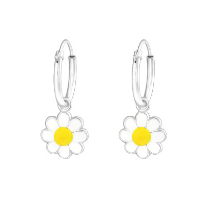 Children's Silver Ear Hoops with Hanging Flower and Epoxy