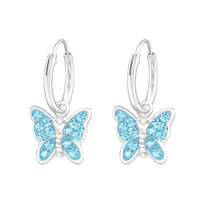 Children's Silver Hoops with Hanging Butterfly and Crystal