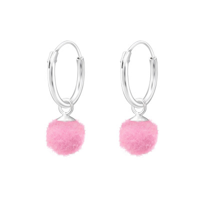 Children's Silver Ear Hoops with Hanging Pom Pom