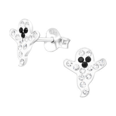 Children's Silver Ghost Ear Studs with Crystal