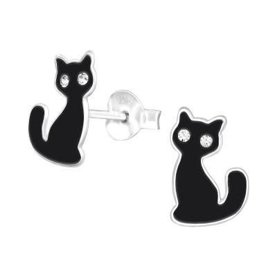 Children's Silver Black Cat Ear Studs with Crystal and Epoxy