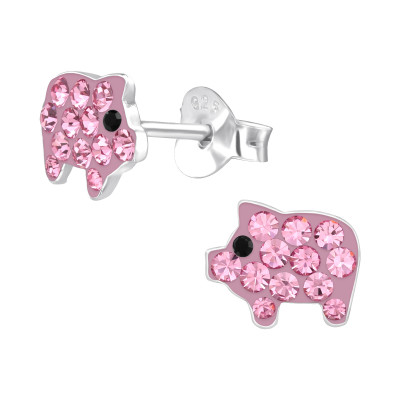Children's Silver Pig Ear Studs with Crystal