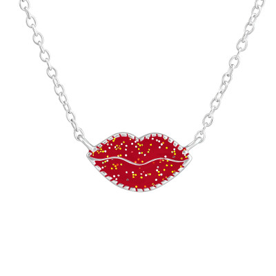 Children's Silver Lips Necklace with Epoxy