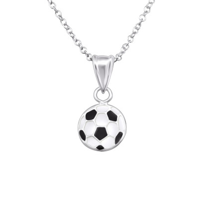 Children's Silver Football Necklace with Epoxy