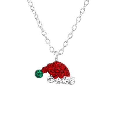 Children's Silver Santa Hat Necklace with Crystal