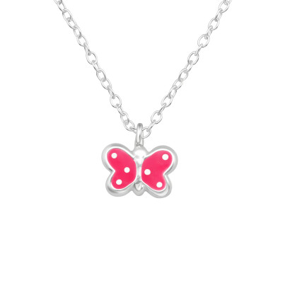 Children's Silver Butterfly Necklace with Epoxy