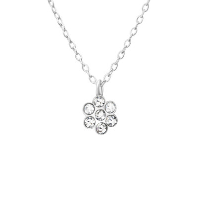 Children's Silver Flower Necklace with Crystal