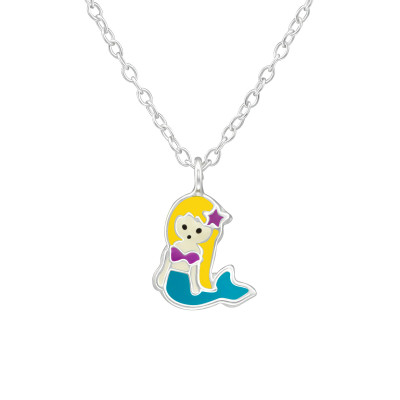 Children's Silver Mermaid Necklace with Epoxy