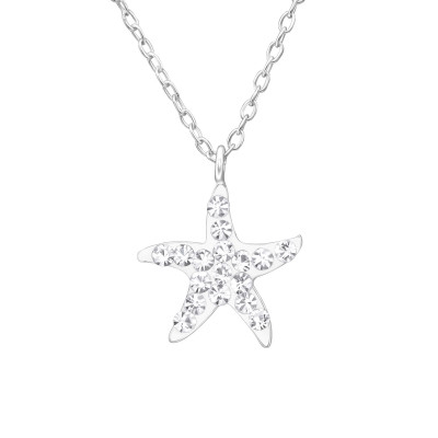 Children's Silver Starfish Necklace with Crystal