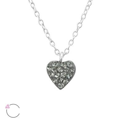 Children's Silver Heart Necklace with Genuine European Crystals