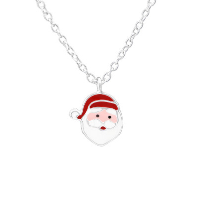 Children's Silver Santa Clause Necklace with Epoxy