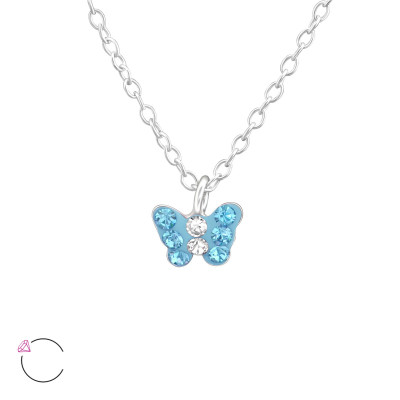 Children's Silver Butterfly Necklace with Genuine European Crystals