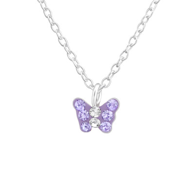 Children's Silver Butterfly Necklace with Crystal