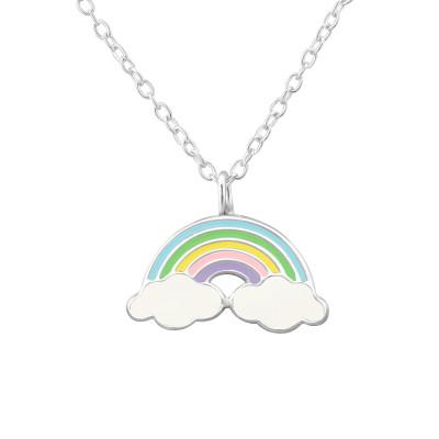 Children's Silver Rainbow Necklace with Epoxy