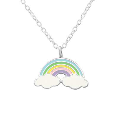 Children's Silver Rainbow Necklace with Epoxy