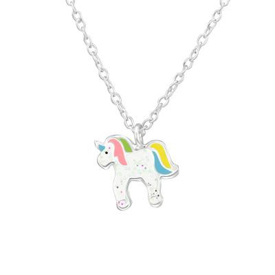 Children's Silver Unicorn Necklace with Epoxy