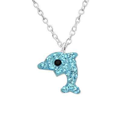Children's Silver Dolphin Necklace with Crystal