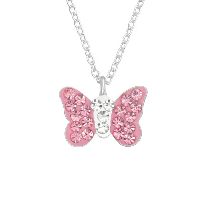 Children's Silver Butterfly Necklace with Crystals