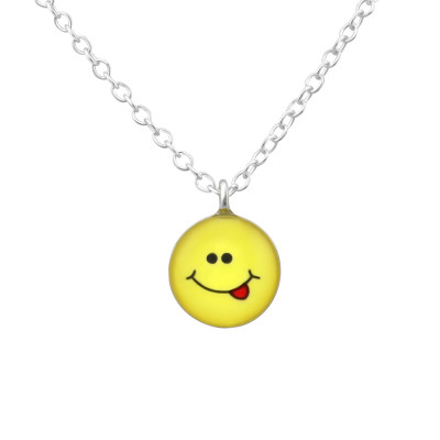 Children's Silver Cheeky Face Necklace