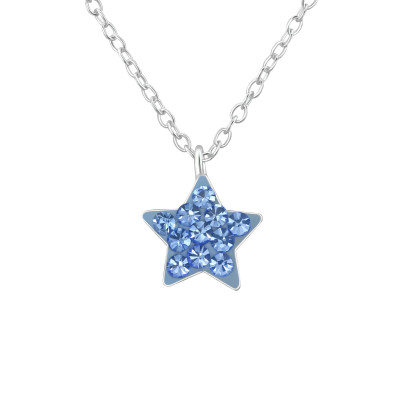 Children's Silver Star Necklace with Crystal
