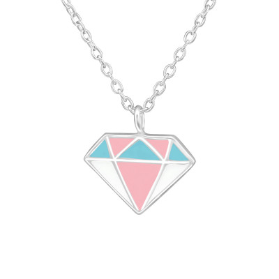 Children's Silver Diamond Shaped Necklace with Epoxy