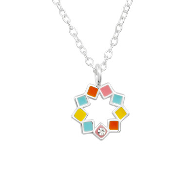 Children's Silver Geometric Necklace with Crystal and Epoxy
