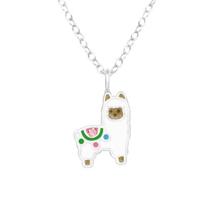 Children's Silver Alpaca Necklace with Crystal and Epoxy