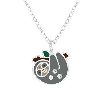 Children's Silver Sloth Necklace with Crystal and Epoxy