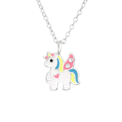 Children's Silver Unicorn Necklace with Crystal and Epoxy