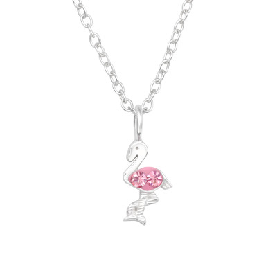 Children's Silver Flamingo Necklace with Crystal