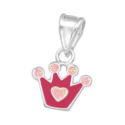 Children's Silver Crown Pendant with Epoxy